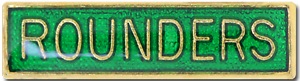 Rounders Bar Pin Badge in Green Enamel
