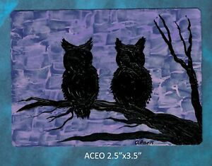 Original-ACEO-Owls-miniature-acrylic-painting-not-framed