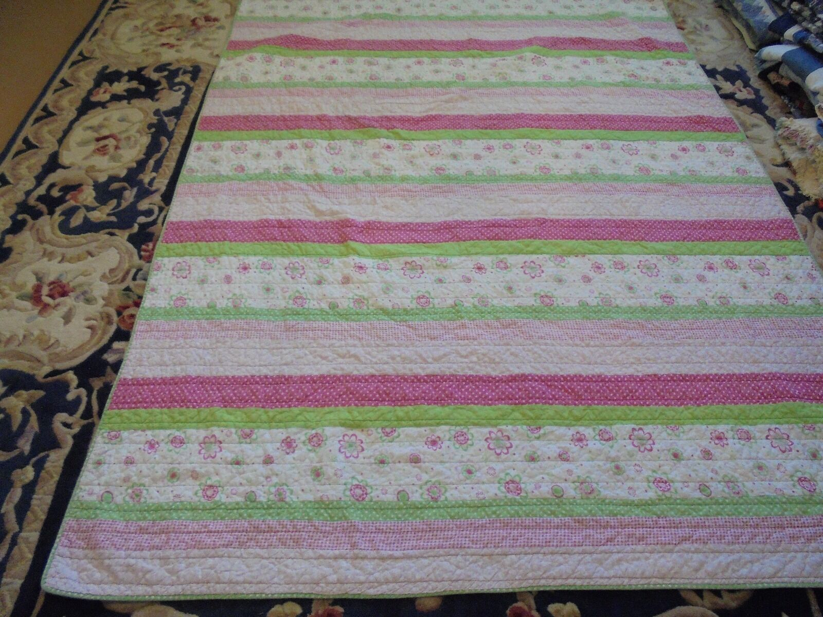 Cute Pink & Green Lines Pattern Quilt