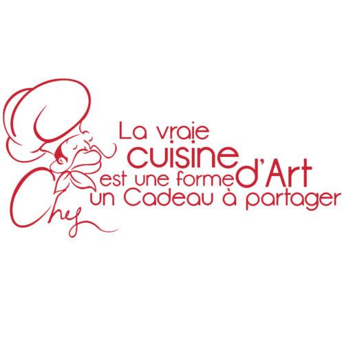 """Sticker Mural Texte /""""/""""La vraie cuisine est .. à partager/"""" 30x63cm à 60x128cm"""