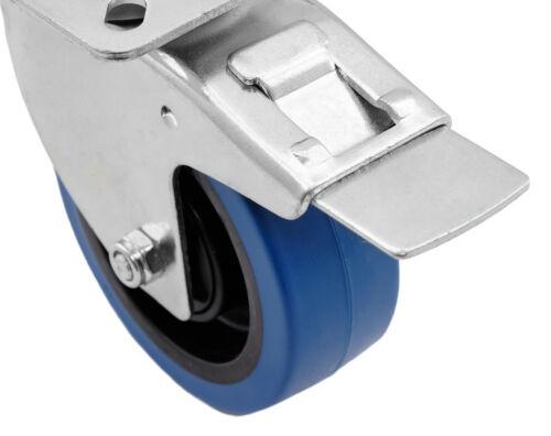 Transportrollen Bockrollen Schwerlastrollen Bremse BLUE WHEEL 80 100 125 mm blau