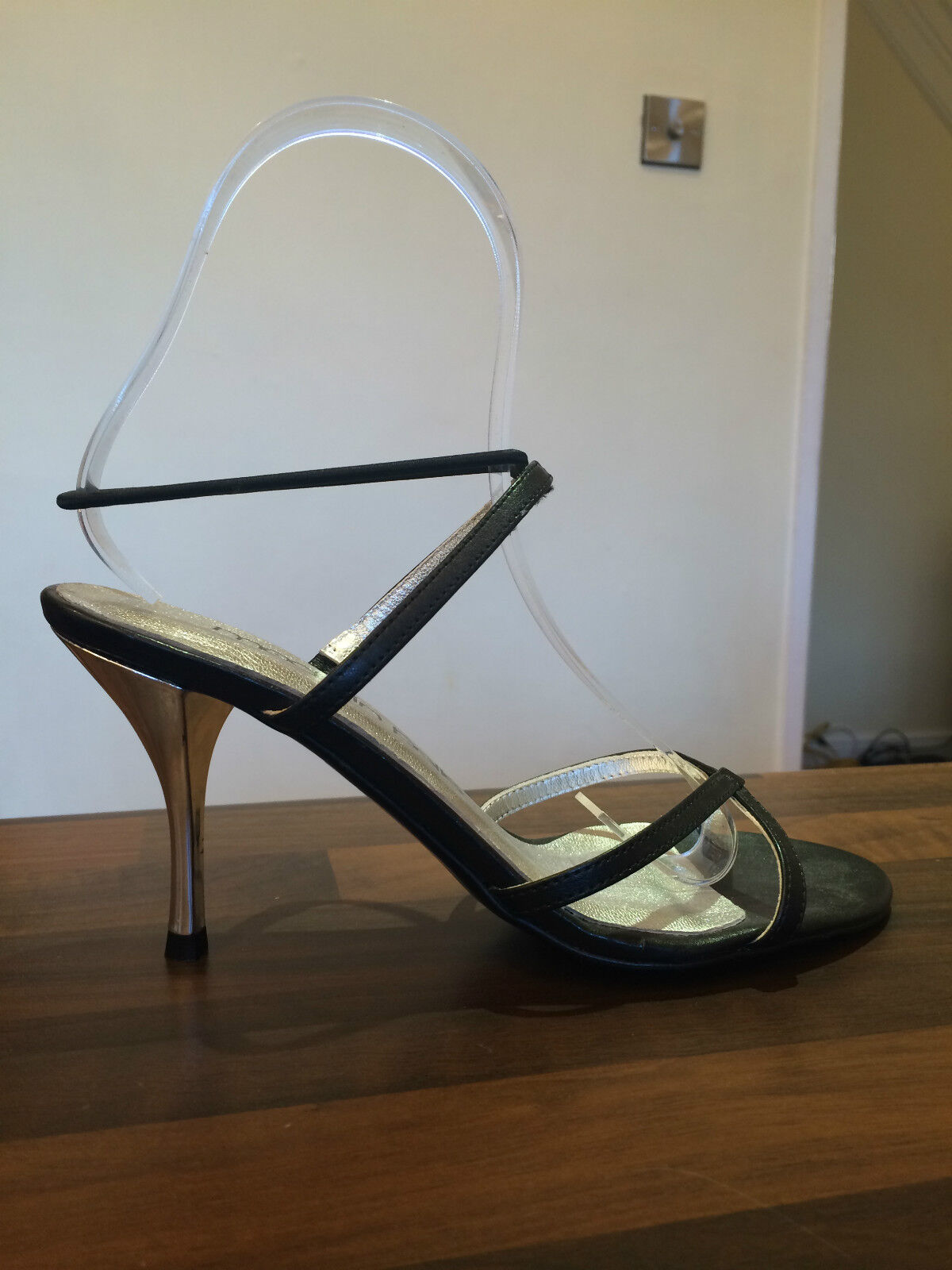 MODA IN PELLE Sexy Black Strappy Sandals High Heels Shoes Size 3 NEW