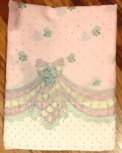 Stevens-Full-Flat-Sheet-Pink-Flowers-Bows-Green-Yellow-Draping-Detail-Princess