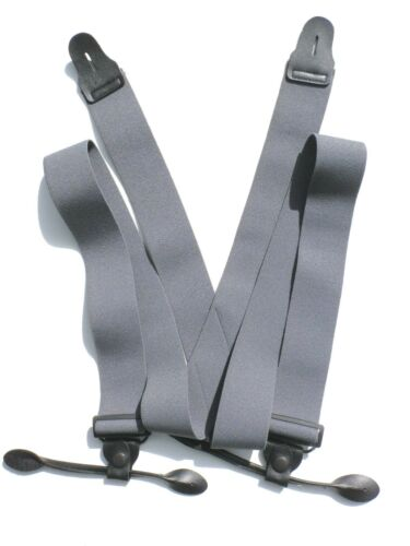 """1 1//2/"""" Gray Suspenders Button-on"""