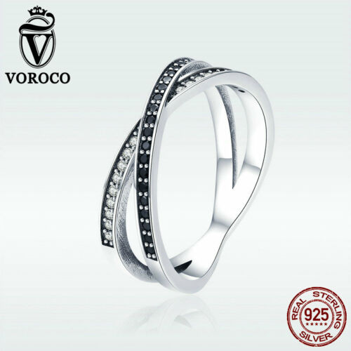 Voroco Fashion Women 925 Sterling Silver Ring Wedding ELF Charm Zircon Jewelry