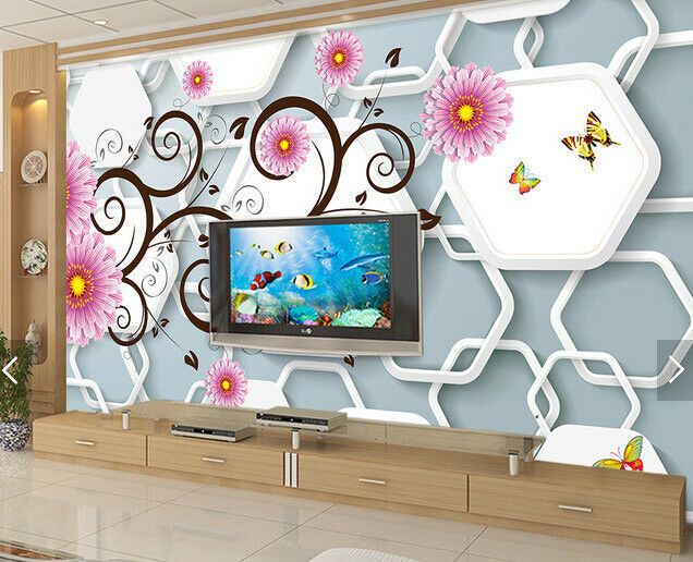 3D Grid Flowers 635 Wallpaper Murals Wall Print Wallpaper Mural AJ WALL AU Kyra