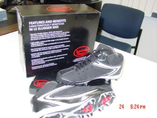 NIB NWT Mens Louisville Slugger Cleats Athletic Sport Black w// White Action Shoe
