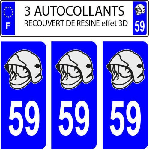 3 sticker plaque immatriculation auto DOMING 3D RESINE CASQUE POMPIER DEPARTE 59