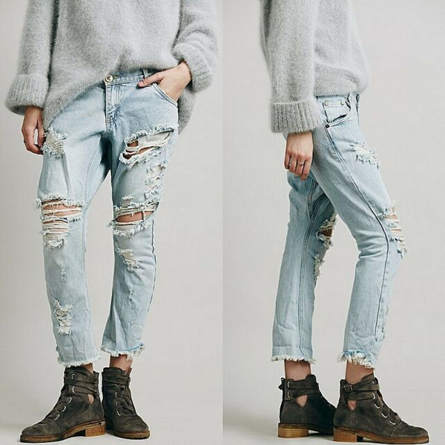 Sexy Women Denim Boyfriend Pants Ripped Hole Casual Long Pencil Trousers Jeans