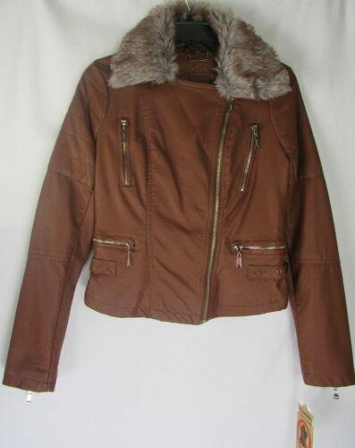Leather Hood Joujou Størrelse 744199533764 Faux Motorcykel Xs W Hazel Vegan Juniorer Jakke YqYIg