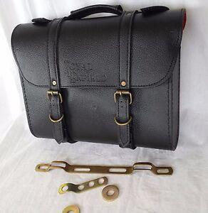 royal enfield vintage cuir noir sacoche kit d 39 installation valise ebay. Black Bedroom Furniture Sets. Home Design Ideas