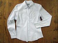 Chico's Shirt 0 Small 4 Fine Line Stripe Lydia Ls Optic White Blue Dress