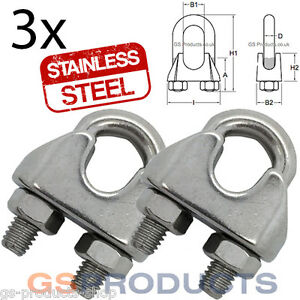 3 x 4mm Stainless Steel Wire Rope Grips Cable Clamps Bulldog Loop ...