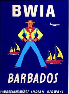 Barbados Antilles Caribbean Island Vintage Travel Art Poster Advertisement