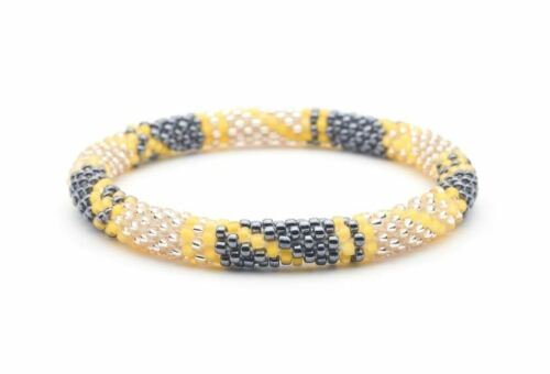 """Details about  /Sashka EXTENDED 8-10/"""" NEW YORK TIMES Glass Bead BRACELET rose gold silver yellow"""