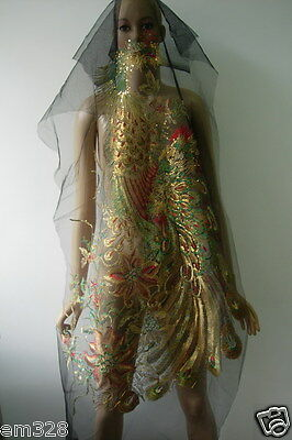 VB81 Multicolor Extra-Large Pheonix Peacock Sequined Trim Tulle Applique