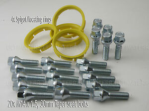 5 X M14X1.5 TAPERED ALLOY WHEEL BOLTS 28MM FIT FOR VW TRANSPORTER T5