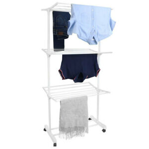 Box Sweden 3 Tier Foldable Clothes Airer Folding Hanger/Drying Rack Stand White