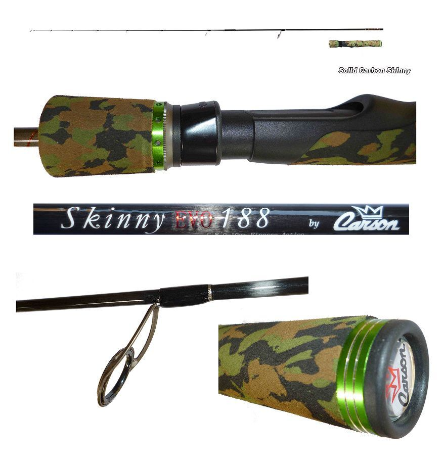Canna spinning skinny evo 1.88m 010g pesca ultra light trout area game lago