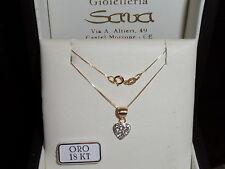 Collana veneziana e ciondolo cuore in oro giallo 750 18 kt e cristalli NUOVO