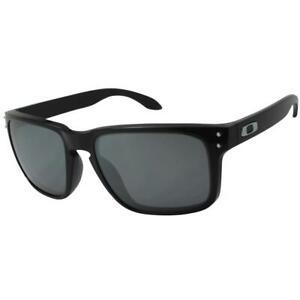 4062abe416992 Oakley OO 9102-02 Holbrook Polished Black Polarized Grey Lens Mens ...
