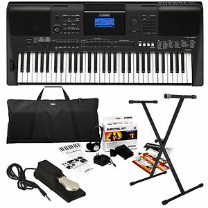 yamaha psr e453 portable keyboard stage essentials bundle. Black Bedroom Furniture Sets. Home Design Ideas