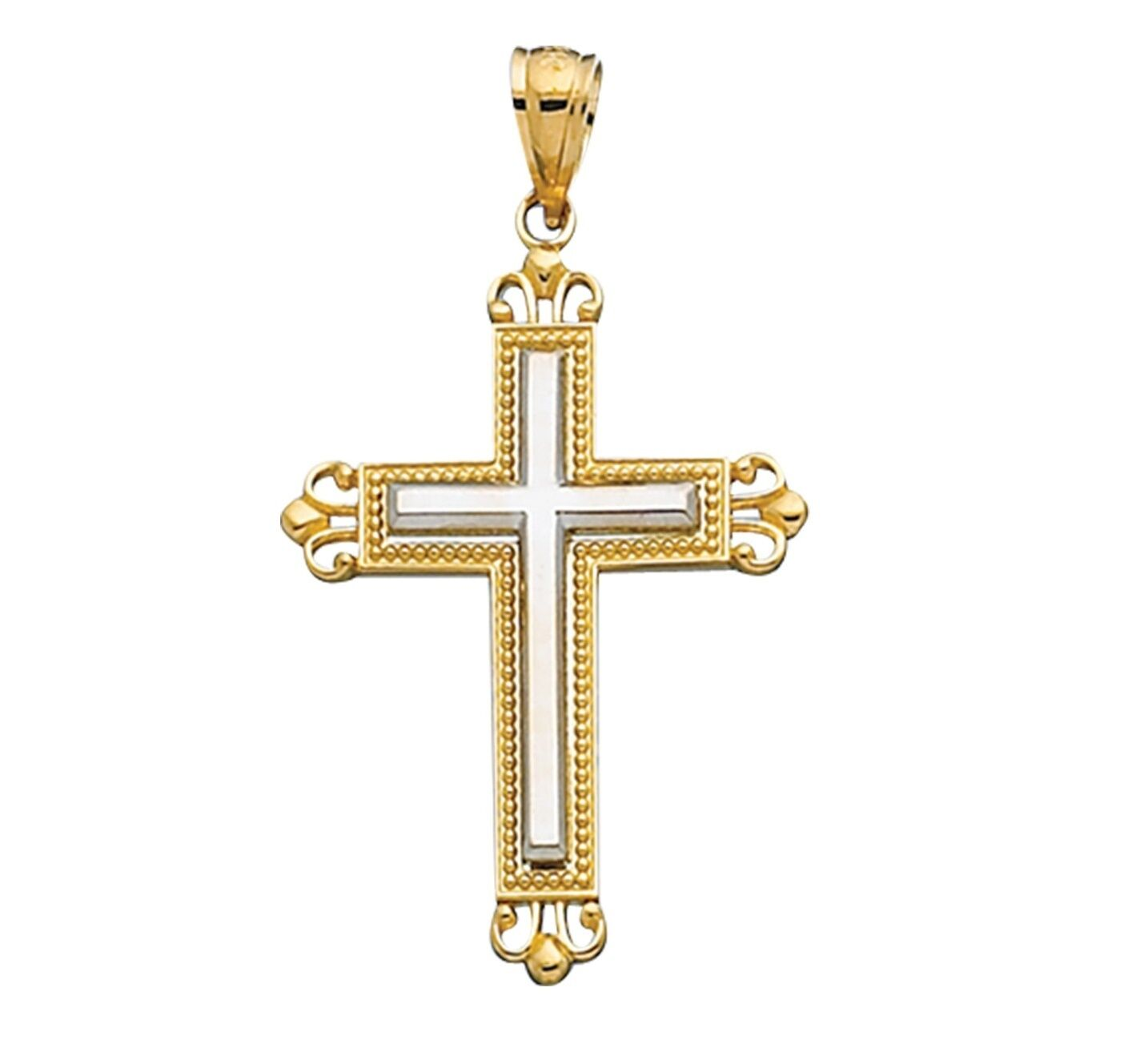 14K Yellow White gold Square Edge Fancy Tip Ball Trim Cross Pendant