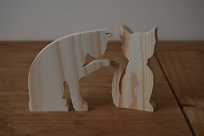 Set Two Different Pieces of Wooden Cats Decoration For Decoupage