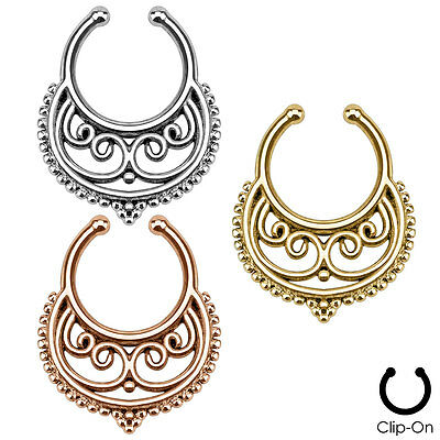 Faux Piercing Crescent Swirls SEPTUM Nose Clip-On Hanger RINGS Stud Body Jewelry