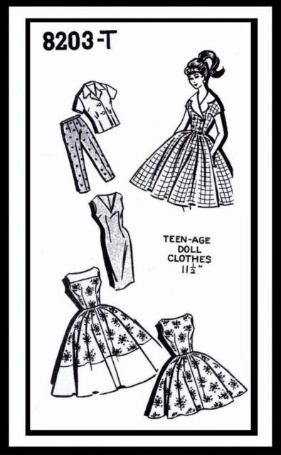 """Barbie Fashion TEEN DOLL Fabric Sewing Pattern 11.5/"""" Vintage Mail Order ~8203-T~"""
