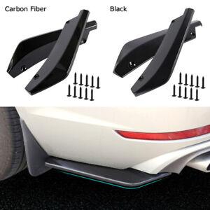2Pz-Universale-Auto-Paraurti-Posteriore-Diffusore-Splitter-Canard-Protector-Nero