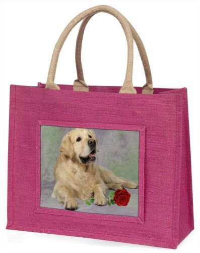AD-GR2RBLP Golden Retriever with Red Rose Large Pink Shopping Bag Christmas Pre