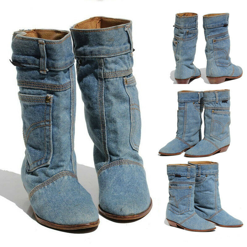 Women Low Heel Casual Boots Ladies Mid Calf Jeans Leather Pointed Toe Cowgirl Ne