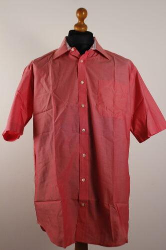 CANDA-Homme à manches courtes solide Couleur Chemise Avec Intérieur Contrasté Col