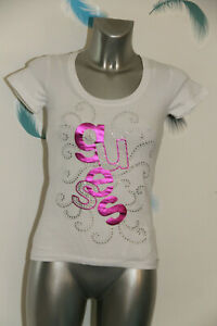 adorable-tee-shirt-blanc-et-strass-GUESS-taille-M-excellent-etat