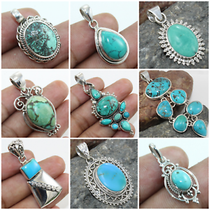 925-SOLID-STERLING-SILVER-HANDMADE-PENDANT-IN-ALL-SHAPE-OF-TIBETAN-TURQUOISE