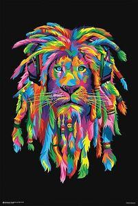 Details about PSYCHEDELIC LION WITH DREADLOCKS POSTER 24X33 Bob Marley  funkadelic rasta reggae