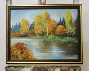 Gemaelde-See-Landschaft-Handarbeit-Olbild-Bild-Olbilder-Rahmen-Bilder-G96336