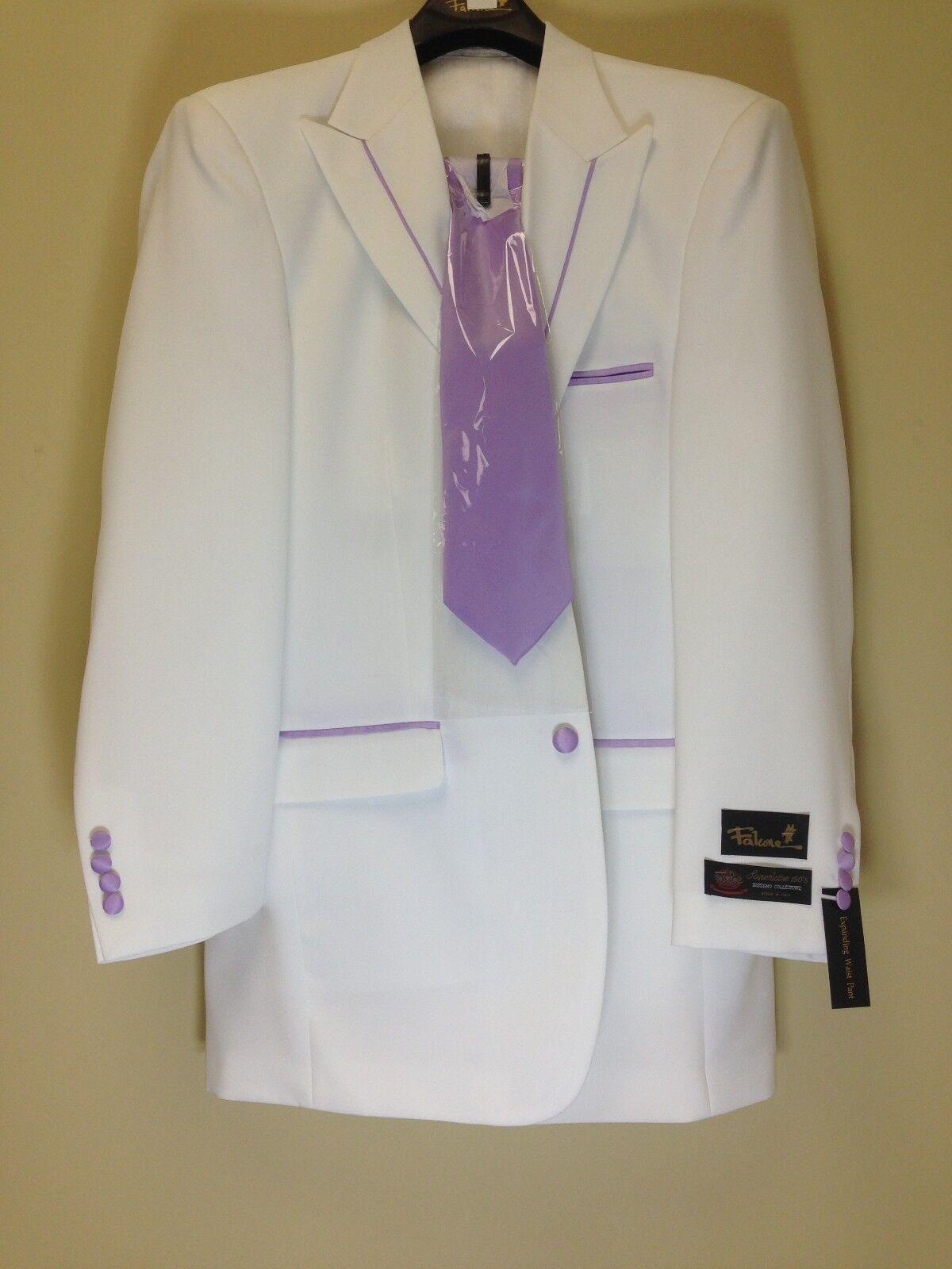 BNWT Falcone 48L Weiß Lavender Tuxedo Fashion Exotic Harvey Suit 4PC Solid Pant