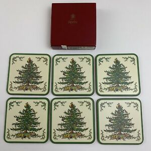 Spode Christmas Tree Coasters Cork Back Made in England ...