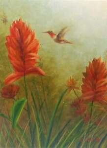 12x16-Hummingbird-Ginger-Floral-Original-Canvas-Oil-Painting-New-Wall-Art-Work