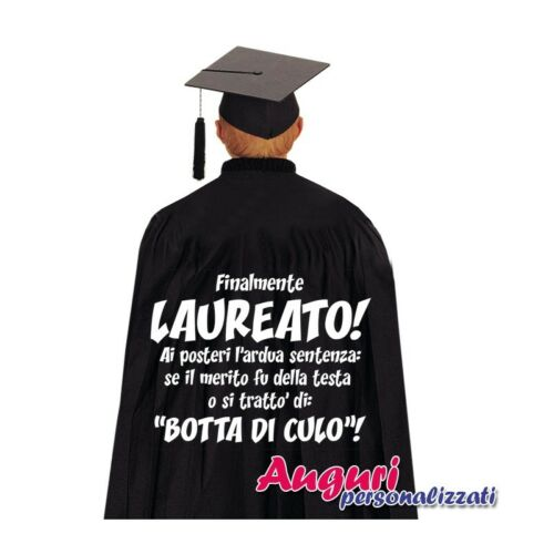 """Mantello di laurea divertente ed originale /""""Finalmente laureato/"""" festa laureato,"""
