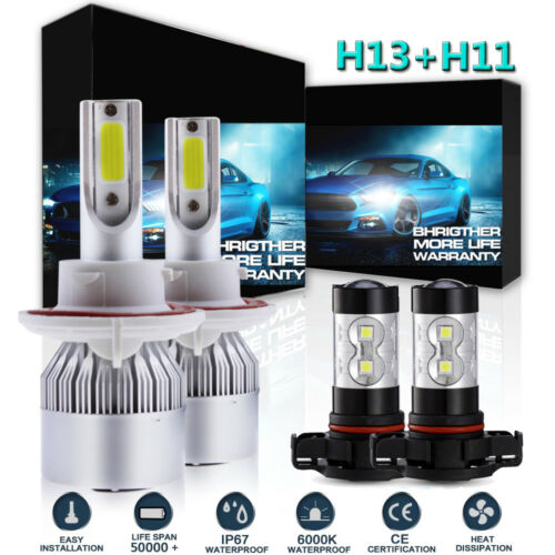 Combo Kit H13 9008 LED Headlight 5202 Fog Light Bulbs For 2008-2012 Ford Escape