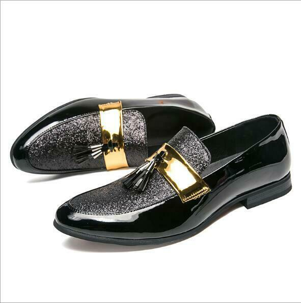 Mens Shine Patent Leather Paillette Tassel Pointy Toe Dress Formal Casual shoes