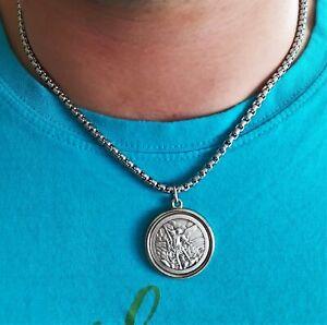 Details about St Michael necklace Catholic protection saint pendant Men  religious jewelry gift