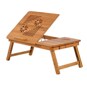 Foldable-Bamboo-Laptop-Stand-Lapdesk-Notebook-Desk-Cooling-Table-w-Drawer