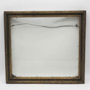 """Vintage 11-1/2""""x12-5/8"""" Painted Gold Wood Ornate Picture Frame"""
