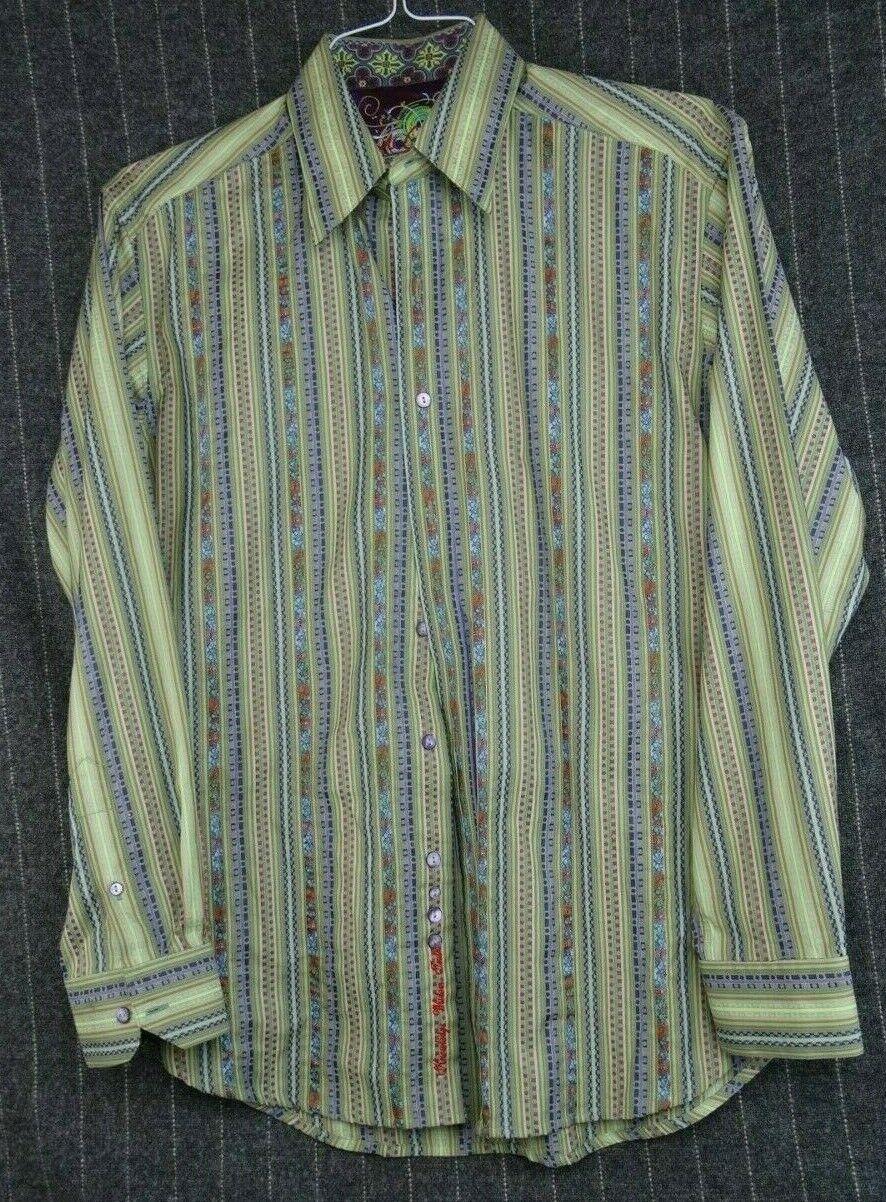 Robert Graham Men Size M Cotton Long Sleeve Flip Cuff Shirt - Green bluee Stripe