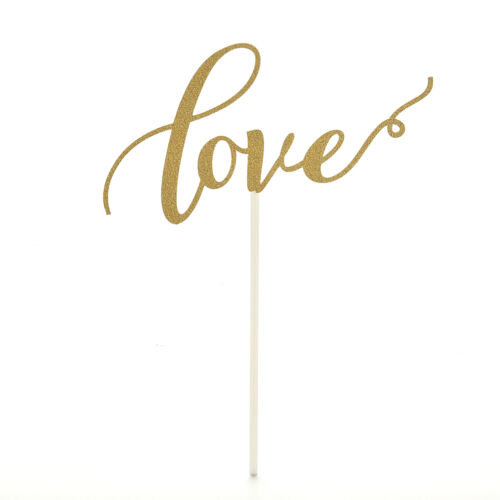 P/&T LOVE Cake Topper Sparkle Glitter Gold Wedding Decorating Engagement PartR ZY