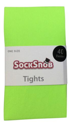 36-42 eu Women/'s Plain 40 Denier Opaque Bright Neon Tights One size 8-14 uk